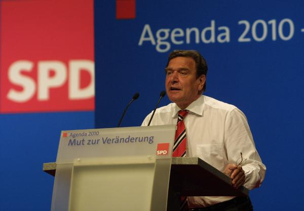 Chancellor Gerhard Schröder at a Special SPD Party Conference on Agenda 2010 (June 1, 2003)