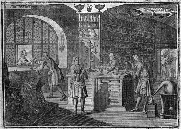 Preparing and Dispensing Medications in an Apothecary (1750)