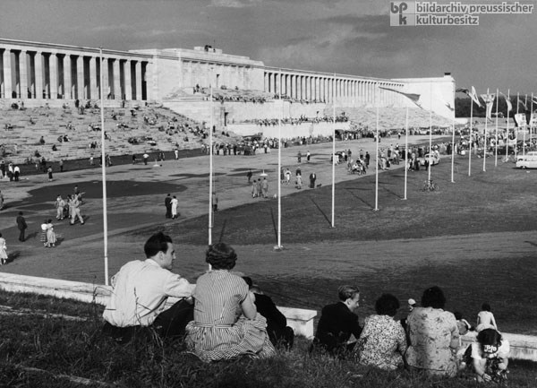 New Use of the Former Reich Party Rally Grounds in Nuremberg: The General German Automobile Club (ADAC) Hosts an Event on Zeppelin Field (1955)