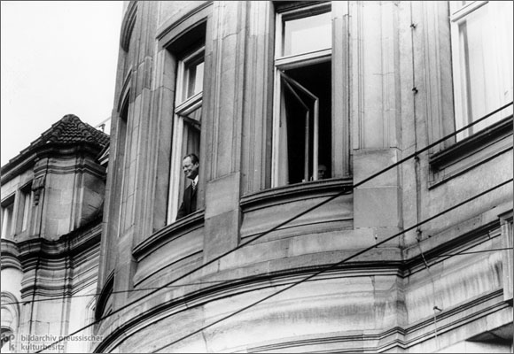 Willy Brandt at a Window in Erfurt (March 19, 1970)