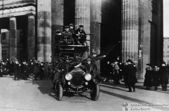 Revolutionary Sailors and Soldiers Drive through the Brandenburg Gate (November 9, 1918)