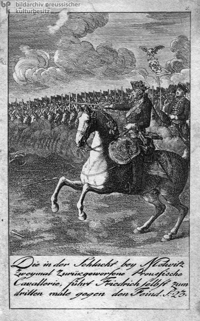 "Frederick II (""the Great"") Leads the Third Charge of the Prussian Cavalry at the Battle of Mollwitz on April 10, 1741 (Late 18th Century)"