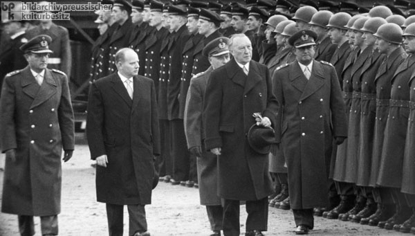 Federal Chancellor Konrad Adenauer and Defense Minister Theodor Blank Visit the First Bundeswehr Training Battalion (January 20, 1956)