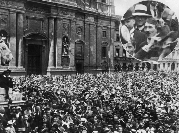 Mass Rally in Front of <I>Feldherrnhalle</i> [Field Marshals' Hall] in Munich – Adolf Hitler in the Crowd (August 2, 1914)