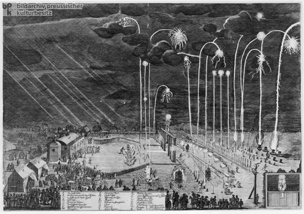 Fireworks in Nuremberg in Celebration of the Agreement on the Implementation of the Treaty of Westphalia (1650)