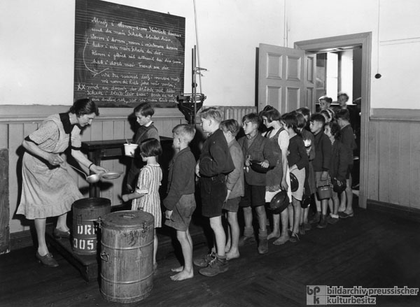 Food being Served to Children at a Hamburg School (1946)