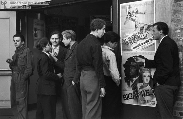 Young People in Front of a Cinema in Hamburg-St. Pauli (1948)
