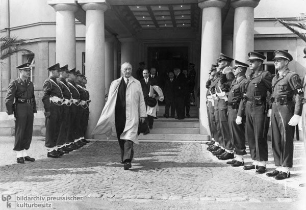Konrad Adenauer Leaving the Seat of the Allied High Commission after Receiving the New Occupation Statute (September 21, 1949)