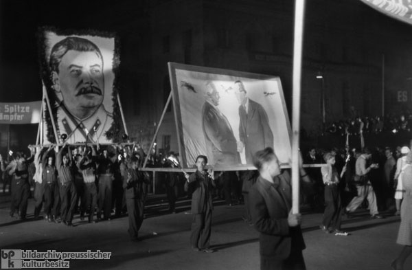 Mass Rally and Torchlight Procession by the Free German Youth in East Berlin (October 11, 1949)
