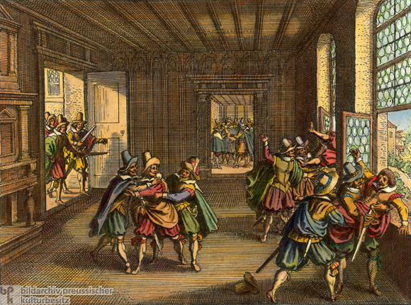 Defenestration of Prague on May 23, 1618 (1646)
