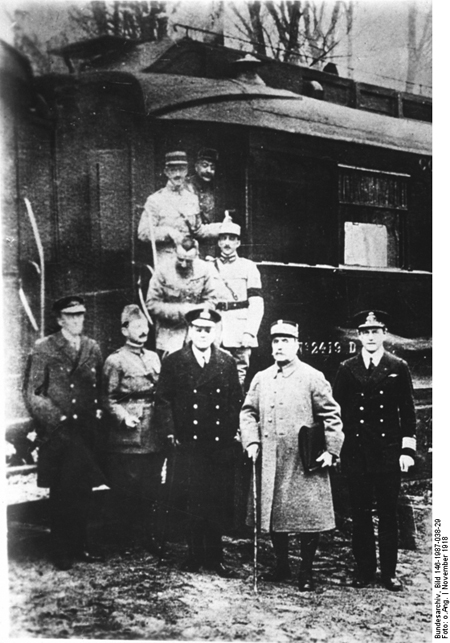 Allied Supreme Commander Marshal Ferdinand Foch and the Allied Delegation after Signing the Armistice at Compiègne (November 11, 1918)