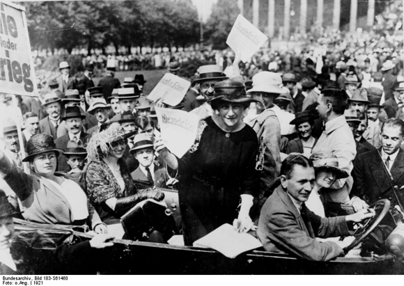 Elsa Einstein with American Pacifists at a Peace Demonstration in Berlin's Lustgarten (1921)