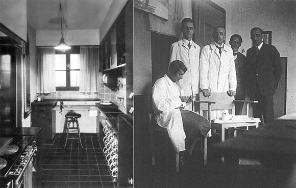 Frankfurt Kitchen (left) Grete Schütte-Lihotzky (seated) with colleagues from the Frankfurt Municipal Building Department (c. 1928)