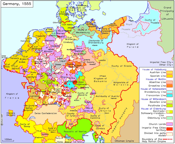 germany with imperial and other cities c 1555