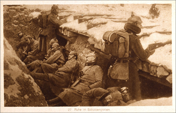 Postcard: Resting in the Trenches (c. 1914)