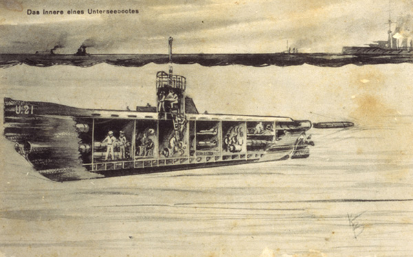 Cross-Section of a Submarine (1915)