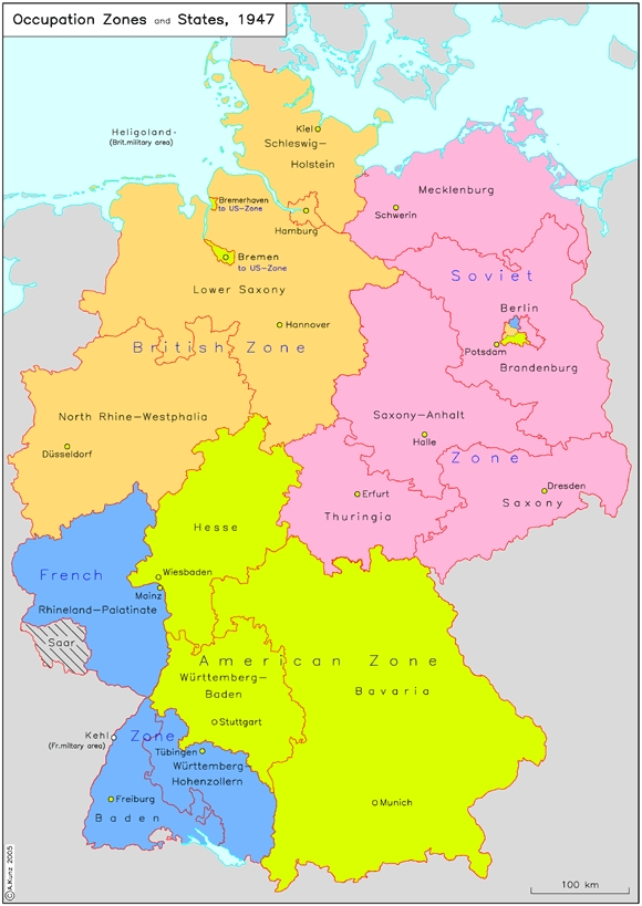 Map Of Germany Occupation Zones.Ghdi Map