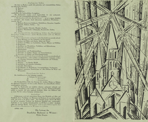 """Cathedral,"" Title Page by Lyonel Feininger for Walter Gropius' Bauhaus Manifesto and Program (April 1, 1919)"