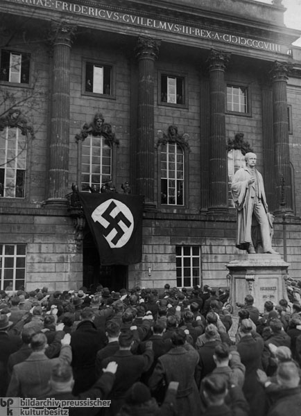 Reich Leader of the German Student Body [<i>Deutsche Studentenschaft</i>] Andreas Feickert on the Balcony of Berlin University (January 1935)