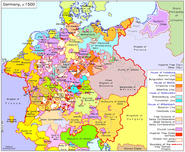 germany with imperial and other cities c 1500